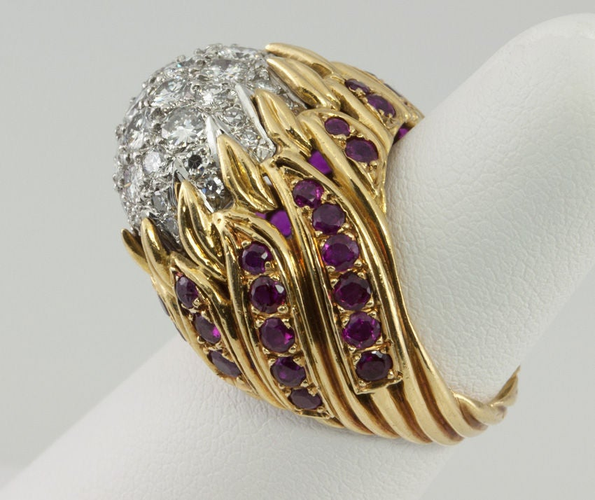 Women's Ruby Diamond Gold Flame Cocktail Ring For Sale