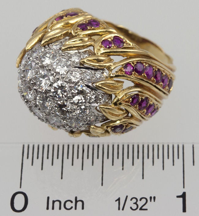 Ruby Diamond Gold Flame Cocktail Ring For Sale 1
