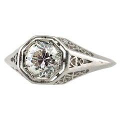 One Carat Diamond Platinum Ring