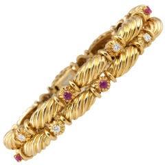 Tiffany & Co. 18 Karat Gold Ruby and Diamond Double Row Bracelet, circa 1990s