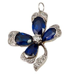 Victorian Diamond and Sapphire Four-Leaf Clover Pendant