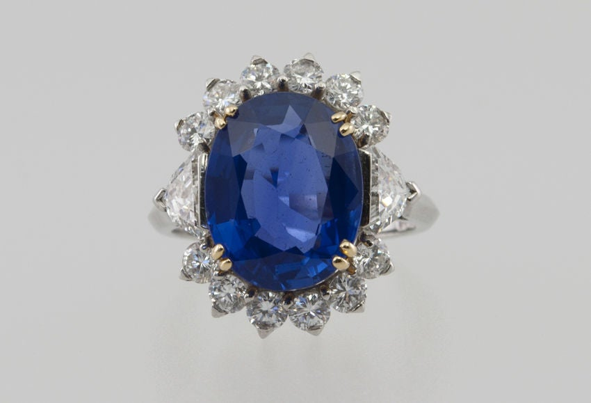 Natural No Heat Sapphire and Diamond Ring image 2