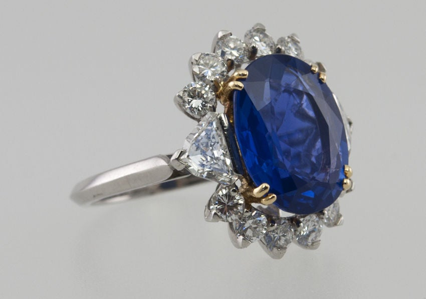 Natural No Heat Sapphire and Diamond Ring image 4