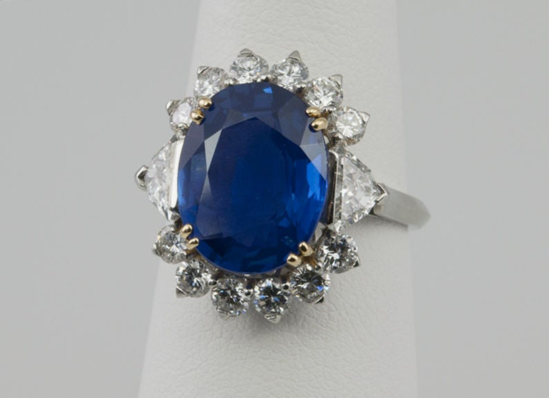 Natural No Heat Sapphire and Diamond Ring image 5