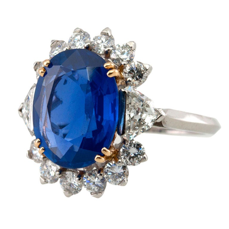 Natural No Heat Sapphire and Diamond Ring