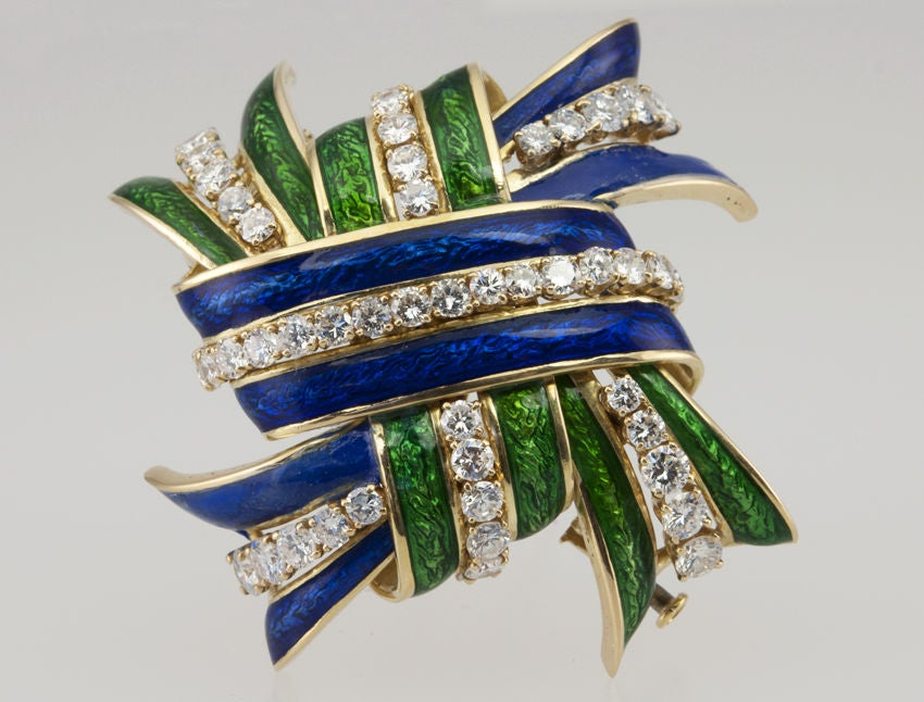 WEBB Enamel and Diamond  Brooch 2