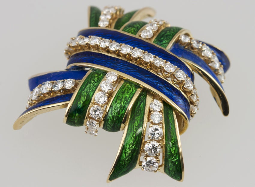 WEBB Enamel and Diamond  Brooch 3