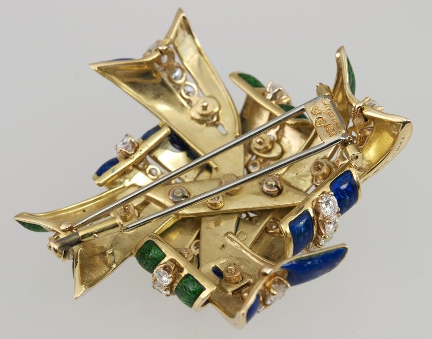 WEBB Enamel and Diamond  Brooch 5