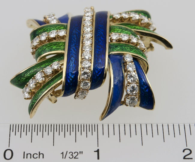 WEBB Enamel and Diamond  Brooch 6