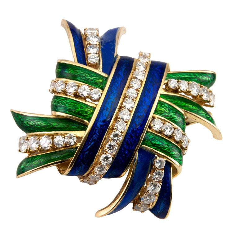 WEBB Enamel and Diamond  Brooch 1