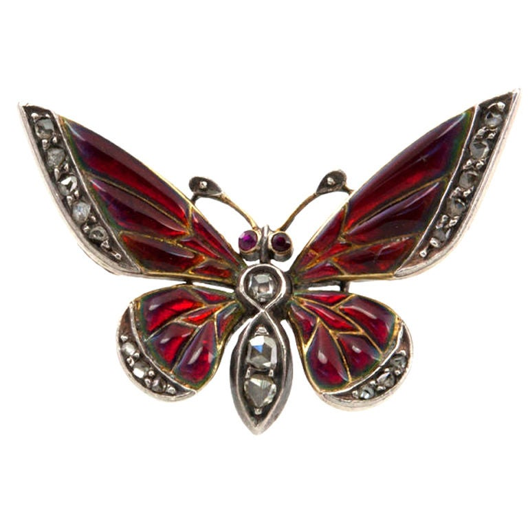 Red Enamel and Rose Cut Diamond Butterfly Pin 1