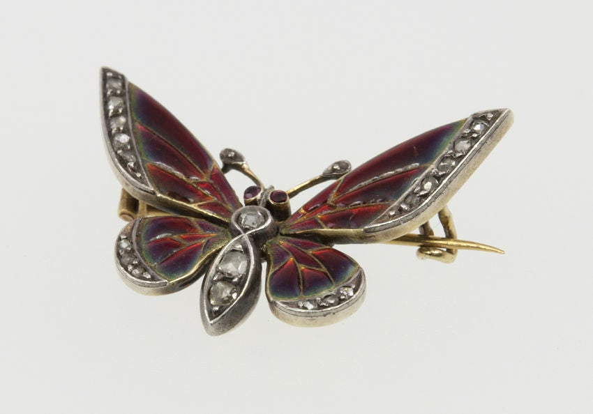 Red Enamel and Rose Cut Diamond Butterfly Pin 2