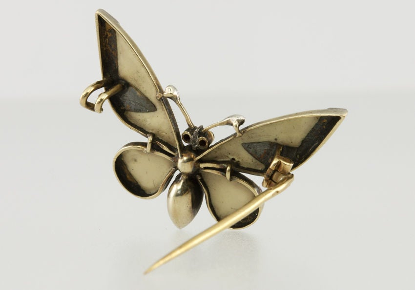 Red Enamel and Rose Cut Diamond Butterfly Pin 3