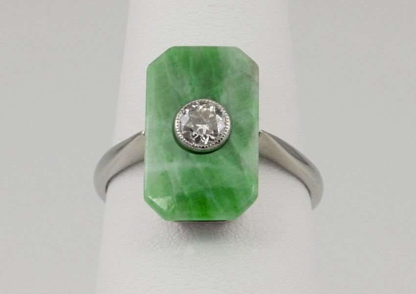 Deco Jade Diamond Ring image 3