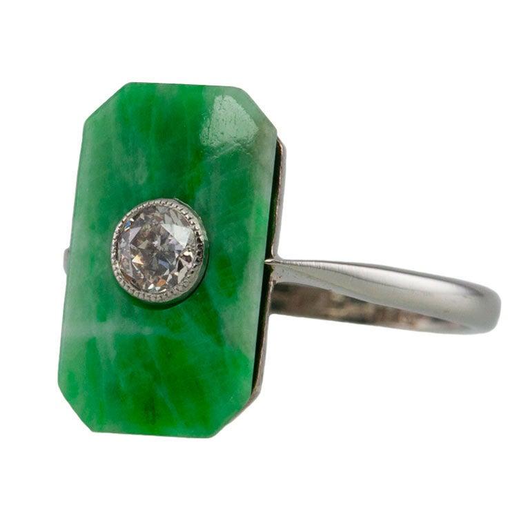 Deco Jade Diamond Ring