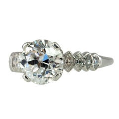 GIA Certified 2.37 Carat Old European Cut Diamond and Platinum 1930s Ring