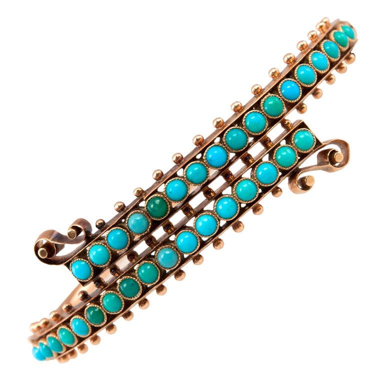Victorian 14 Karat Gold Turquoise Bypass Bangle Bracelet