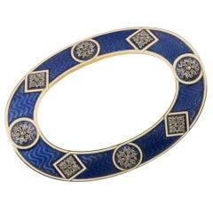 Cartier 18 Karat Yellow Gold and Platinum Diamond Enamel Guilloche Brooch