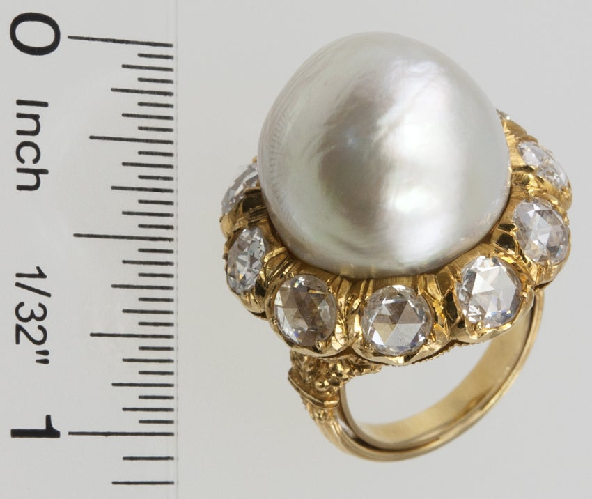 Buccellati Pearl and Rose Cut Diamond Cluster 18 Karat Yellow Gold Ring 2