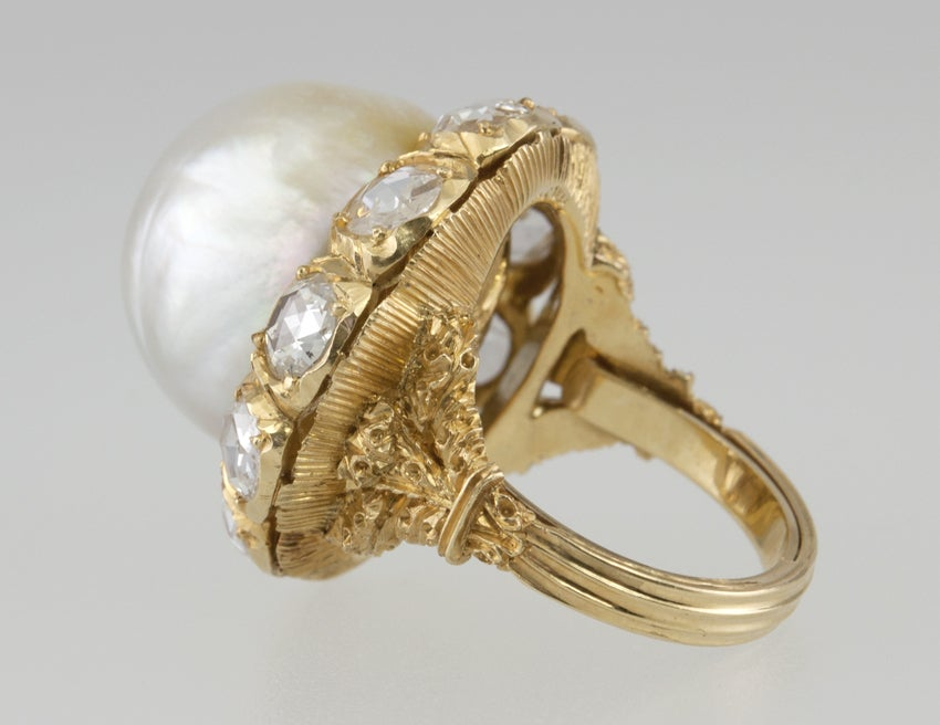 Buccellati Pearl and Rose Cut Diamond Cluster 18 Karat Yellow Gold Ring 5