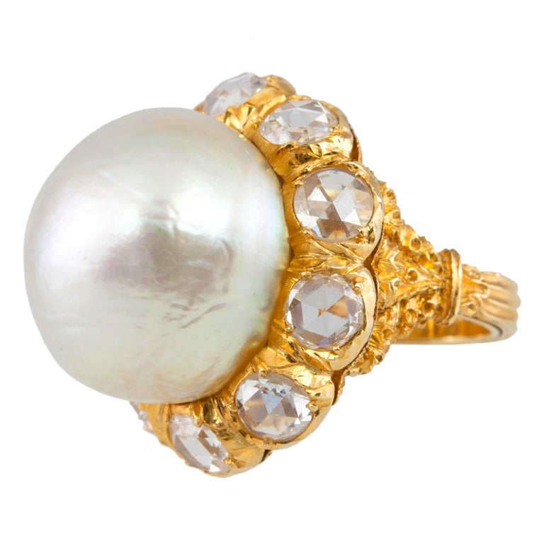 Buccellati Pearl and Rose Cut Diamond Cluster 18 Karat Yellow Gold Ring 1