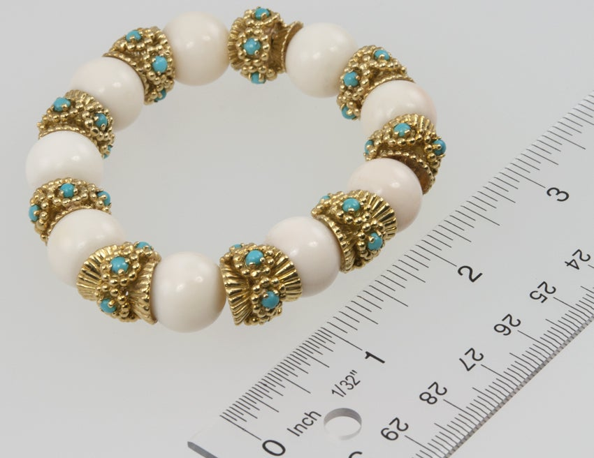 White Coral and Turquoise Bracelet image 2