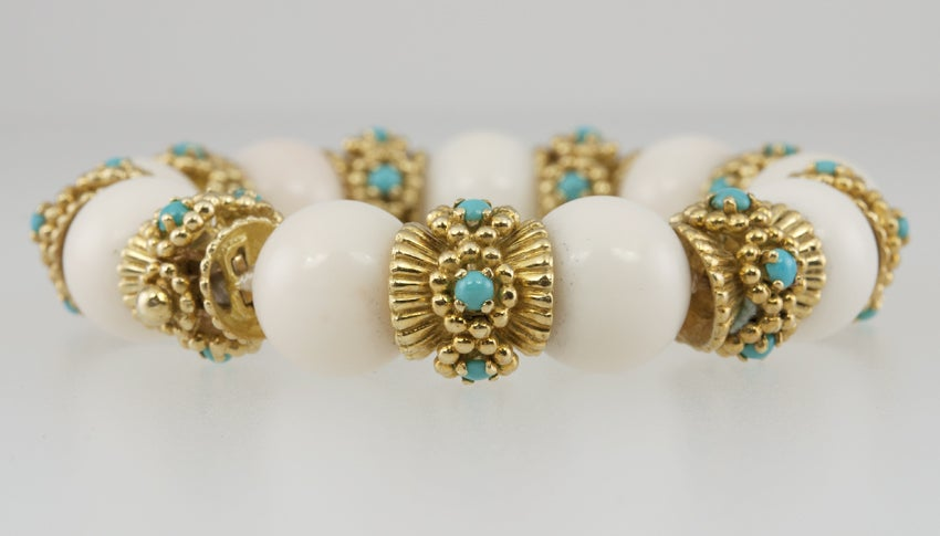 White Coral and Turquoise Bracelet image 3