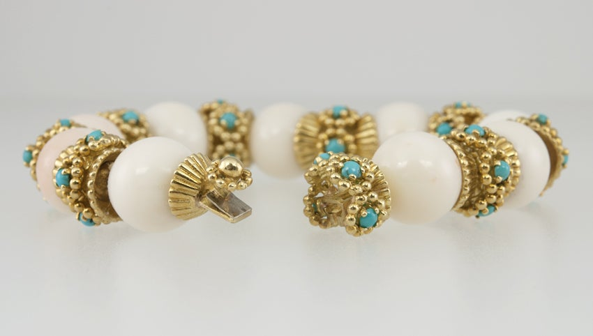 White Coral and Turquoise Bracelet image 4
