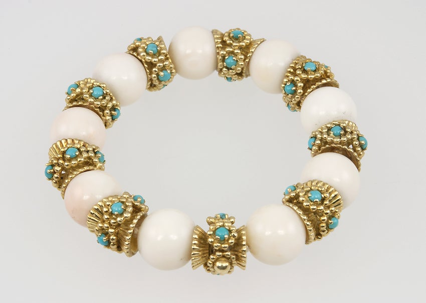 White Coral and Turquoise Bracelet image 5