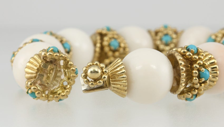 White Coral and Turquoise Bracelet image 6
