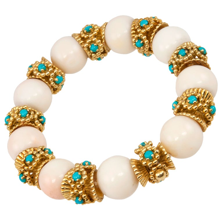 White Coral and Turquoise Bracelet