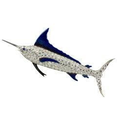 Diamond and Blue Enamel Platinum Marlin Brooch Circa 1920s