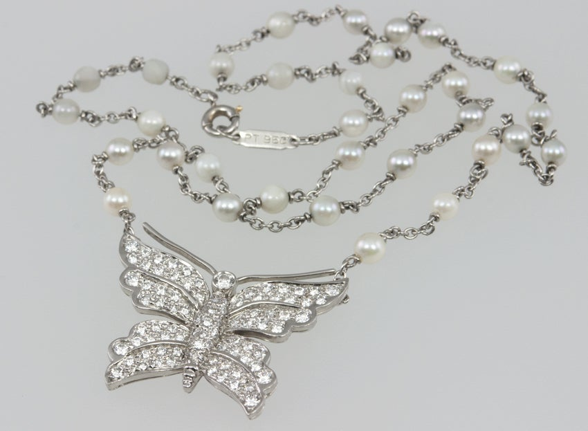 Women's Tiffany & Co. Diamond Butterfly and Pearl Platinum Necklace For Sale