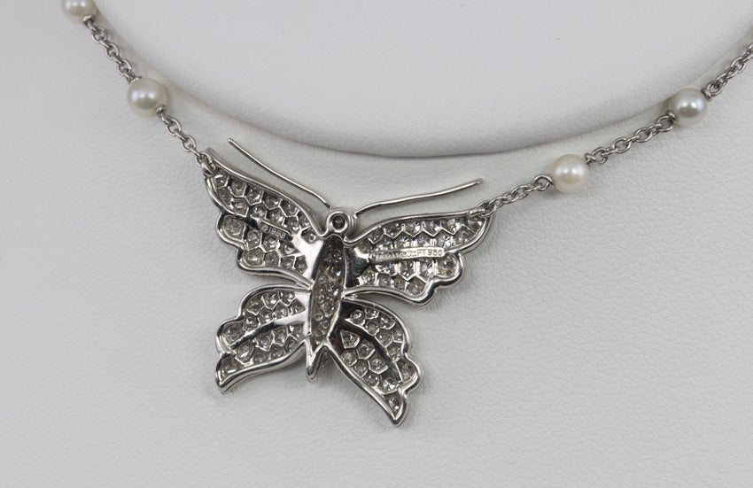 Tiffany & Co. Diamond Butterfly and Pearl Platinum Necklace For Sale 1