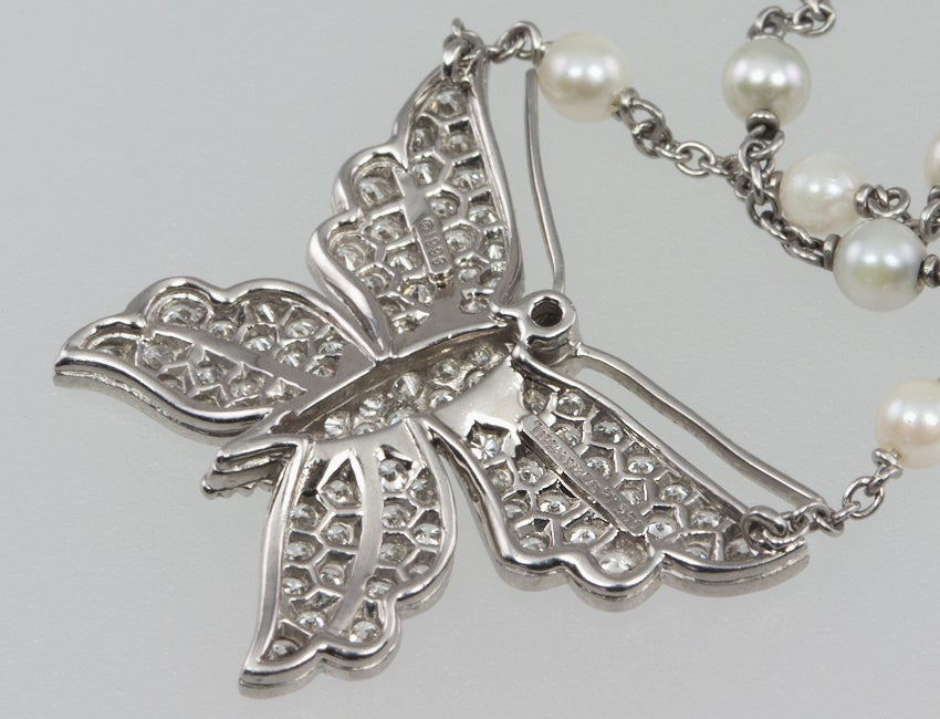 Tiffany & Co. Diamond Butterfly and Pearl Platinum Necklace For Sale 2