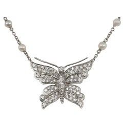 Tiffany & Co. Diamond Butterfly and Pearl Platinum Necklace