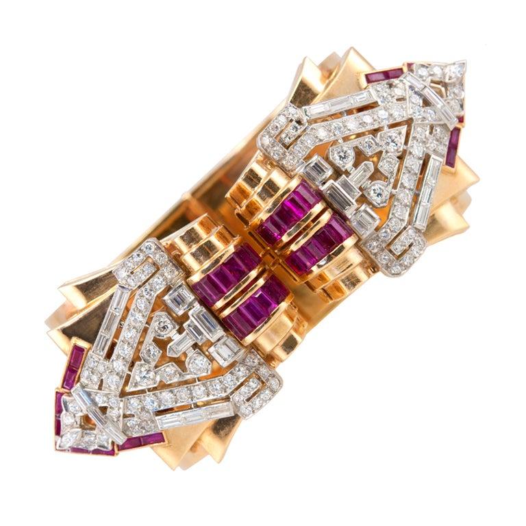 Art Deco Clips on a Retro Bangle Bracelet