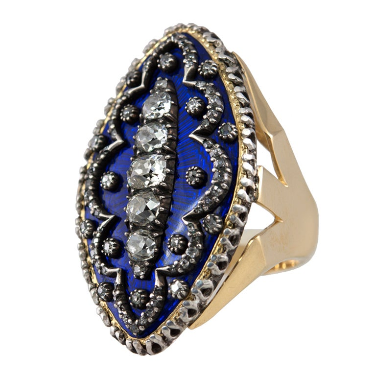 Early Victorian Enamel Ring Conversion