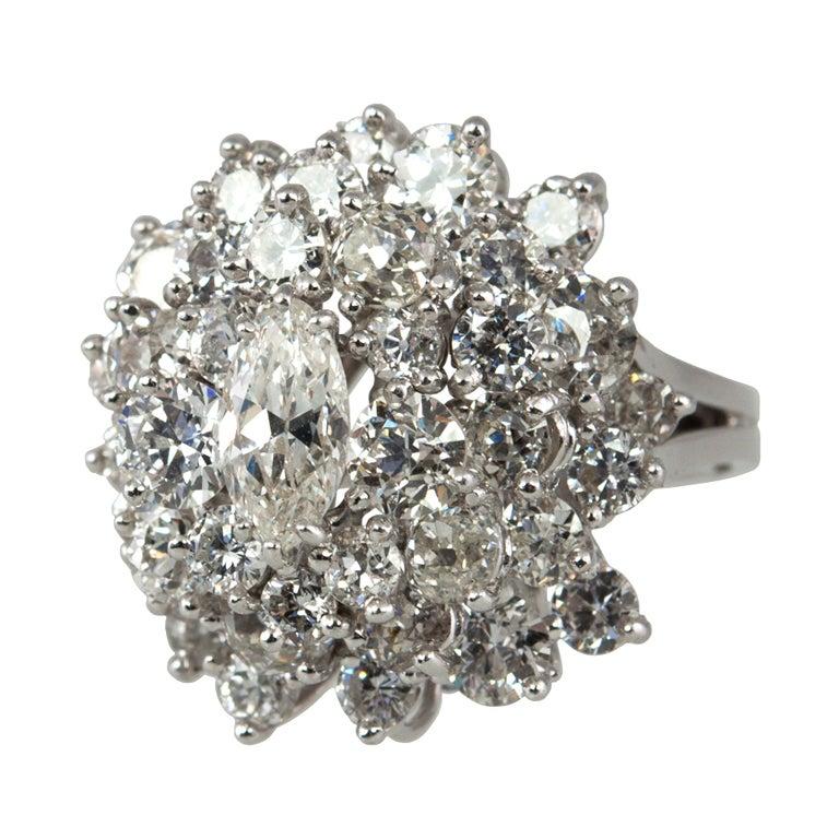 4 Carat Diamond Cluster Ring at 1stdibs