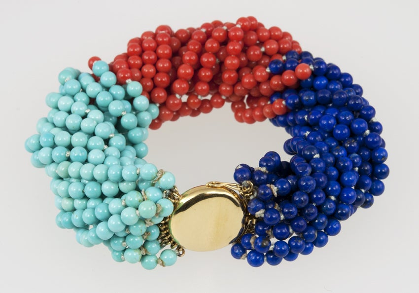 TIFFANY & CO Coral,Turquoise,and Lapis Bead Bracelet 3