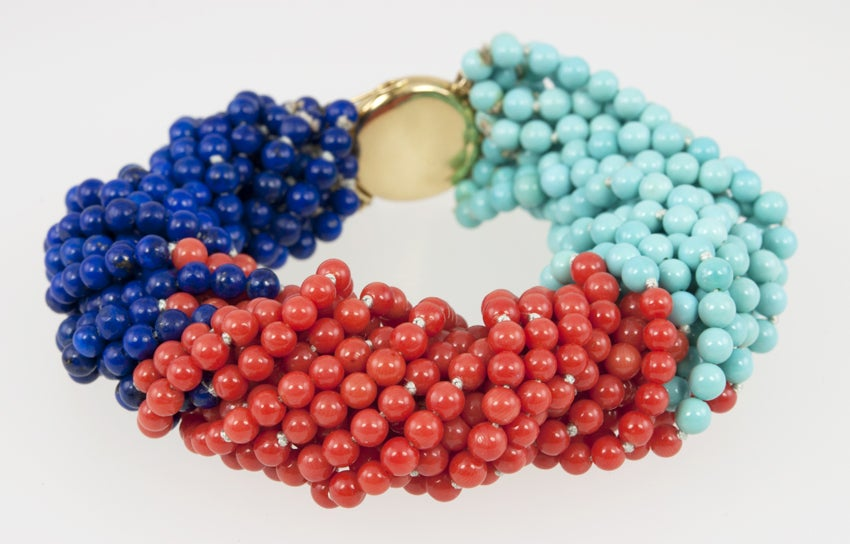 TIFFANY & CO Coral,Turquoise,and Lapis Bead Bracelet 4