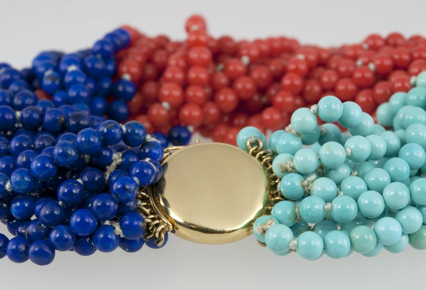 TIFFANY & CO Coral,Turquoise,and Lapis Bead Bracelet 5