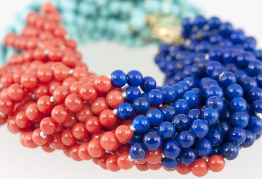 TIFFANY & CO Coral,Turquoise,and Lapis Bead Bracelet 6
