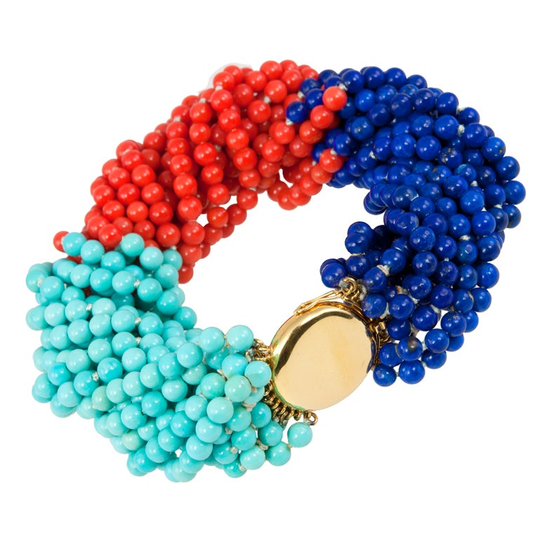 TIFFANY & CO Coral,Turquoise,and Lapis Bead Bracelet 1