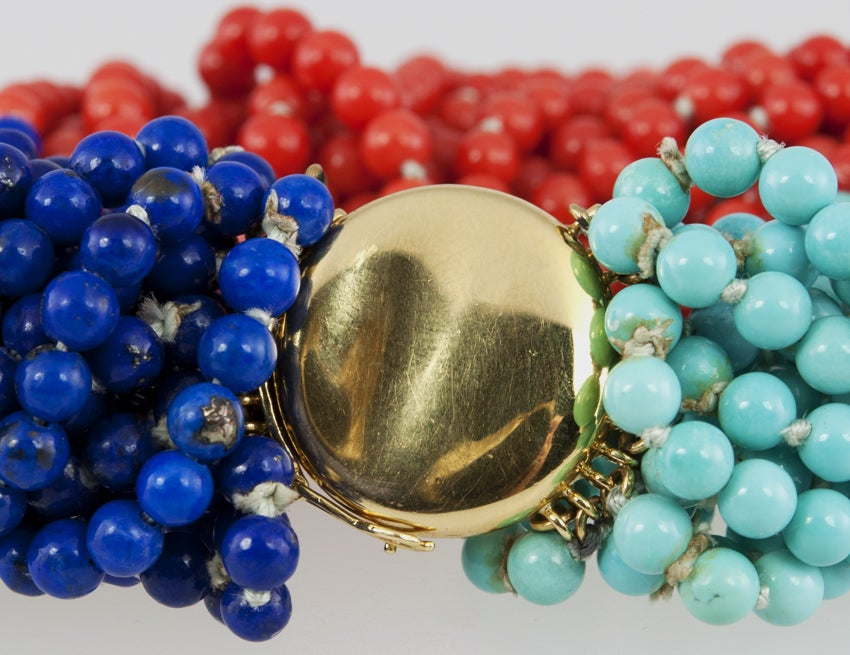 TIFFANY & CO Coral,Turquoise,and Lapis Bead Bracelet 8