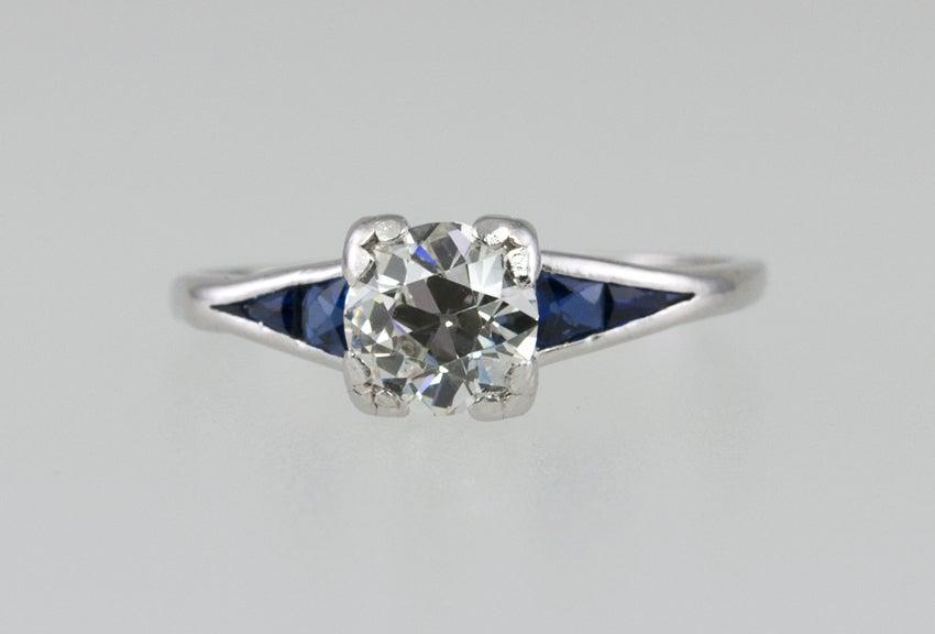 Art Deco Sapphire Diamond Ring  For Sale