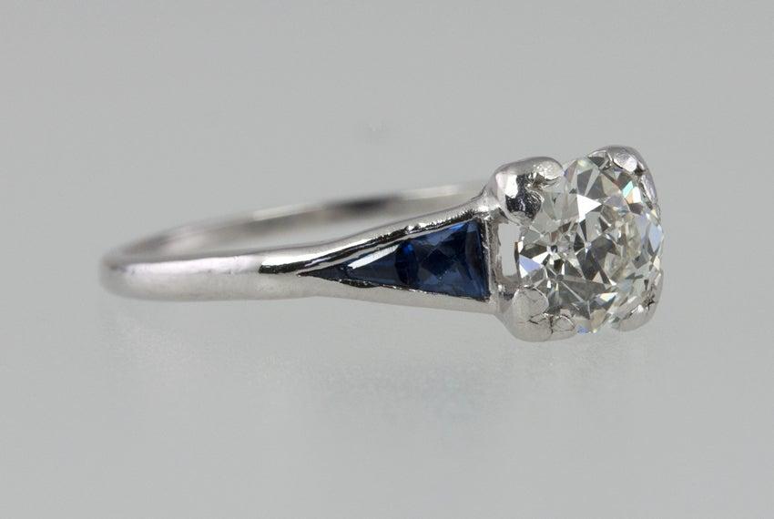 Old European Cut Sapphire Diamond Ring  For Sale