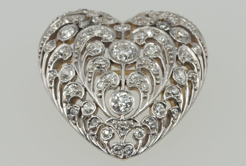 Victorian Large Antique Old European Cut Diamond Heart Pendant and Brooch For Sale