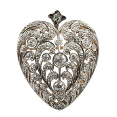 Large Antique Old European Cut Diamond Heart Pendant and Brooch