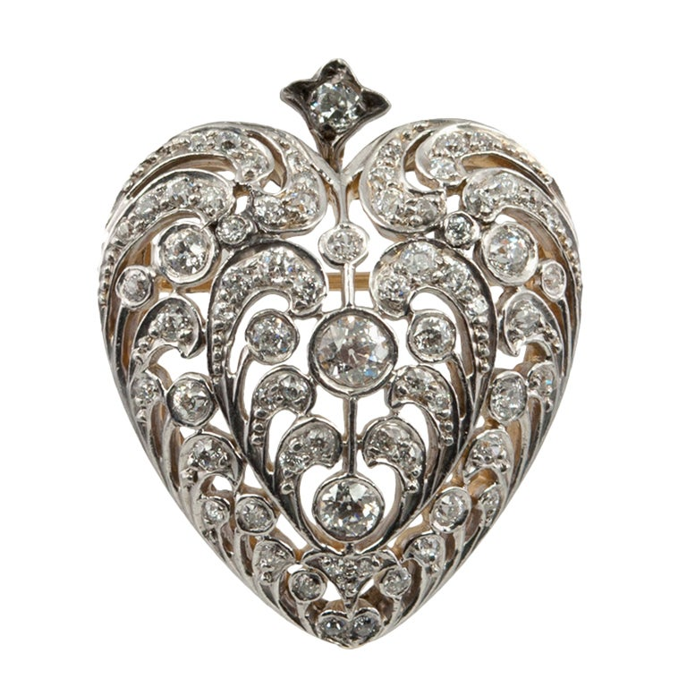 Large Antique Old European Cut Diamond Heart Pendant and Brooch For Sale